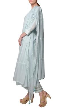 Blue chiffon silk embroidered kurta set
