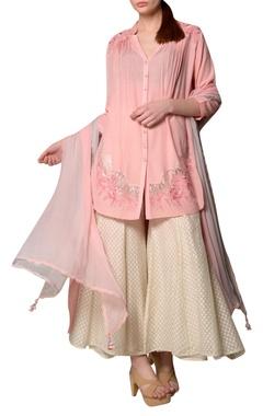 Blush pink eucalyptus fabric high low kurta