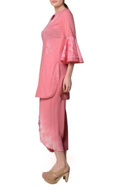 Pink cotton dobby ruffle sleeve blouse & dhoti pants