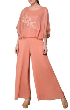 Peach kota silk & chiffon cape jumpsuit