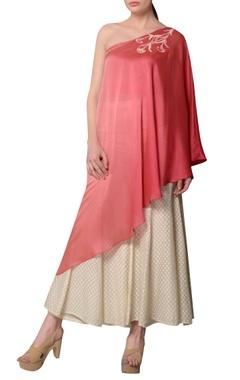 Pink ombre asymmetric one-shoulder blouse