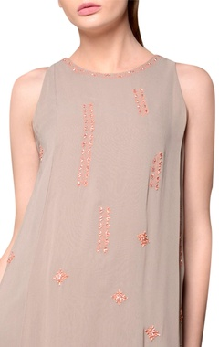 Grey georgette layered dress with embroidery