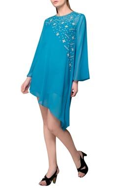 Teal blue asymmetric dress