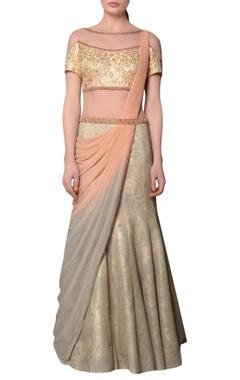 Pink ombre brocade pre-draped sari