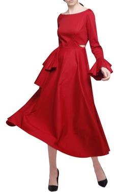 Manika Nanda Red cotton satin asymmetric midi dress