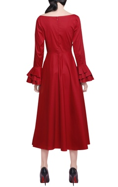 Red cotton satin asymmetric midi dress
