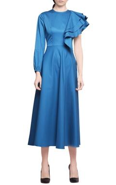 Manika Nanda Turquoise cotton satin ruffled one sleeve midi dress