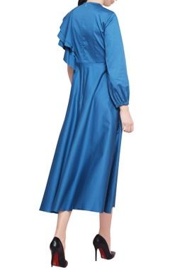 Turquoise cotton satin ruffled one sleeve midi dress