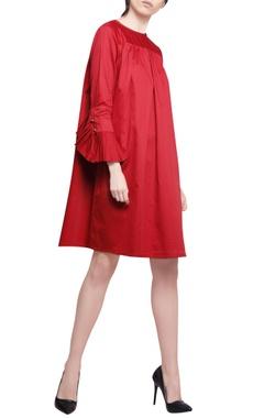 Manika Nanda Red cotton satin pleated trapeze dress
