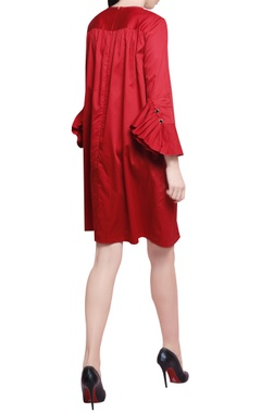Red cotton satin pleated trapeze dress
