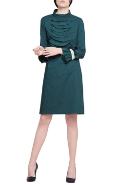 Manika Nanda Sacramento green blended cotton ruffles straight cut dress
