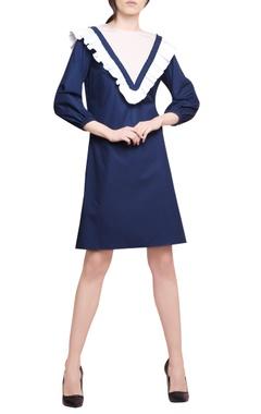 Manika Nanda Midnight blue blended cotton gathered dress