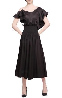 Manika Nanda Deep brown cotton satin drop waist dress