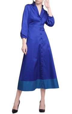 Manika Nanda Electric blue & turquoise cotton satin coat style dress
