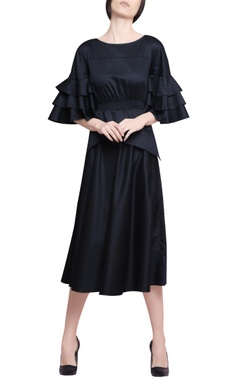 Manika Nanda Midnight blue blended cotton pleated midi dress with tiered & ruffled sleeves