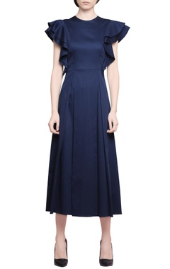 Manika Nanda Black cotton satin peplum midi dress with elasticised waistband