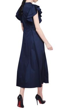 Black cotton satin peplum midi dress with elasticised waistband