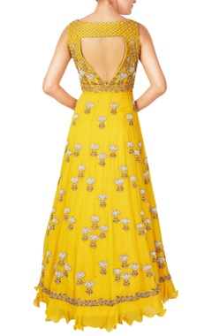 Yellow bead embellished anarkali gown with stole