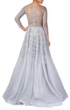 Powder blue net & organza sequin & thread work embroidered gown
