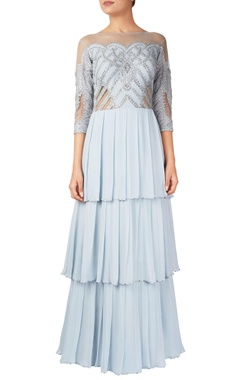 Powder blue ruffle tiered style gown