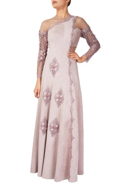 Lilac suede concept anarkali gown