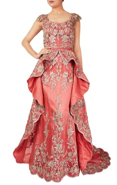 Pink pure organza silk gown with long trail