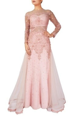Pink suede fishtail gown