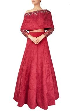 Reeti Arneja Maroon suede & net off-shoulder cape gown