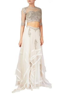 Reeti Arneja White organza & tussar silk lehenga & blouse