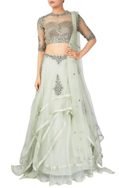 Reeti Arneja Green organza & tussar silk lehenga with net blouse