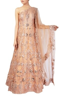 Peach leather patchwork anarkali gown