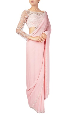 Reeti Arneja Pink pearl & zardozi embroidered georgette & net saree with blouse