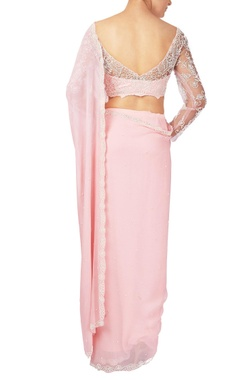 Pink pearl & zardozi embroidered georgette & net saree with blouse