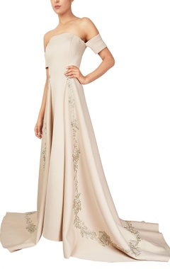 Reeti Arneja Beige scuba fabric off-shoulder gown with long trail