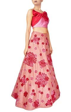 Reeti Arneja Pink & red raw silk rose motif lehenga with bow blouse