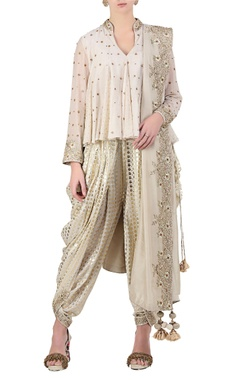 Nikasha Ivory sequin & bead embroidered flared top with dhoti pants & dupatta