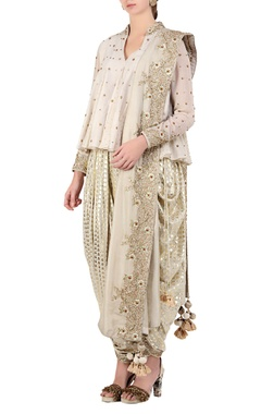Ivory sequin & bead embroidered flared top with dhoti pants & dupatta