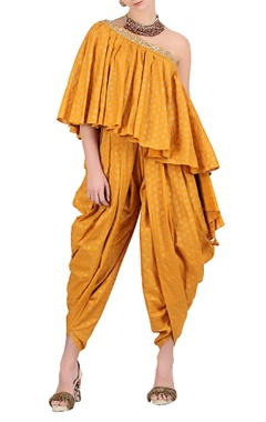 Ochre yellow cotton one shoulder blouse with cowl dhoti