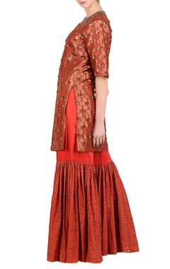 Rust embroidered brocade kurta with sharara pants & embroidered dupatta