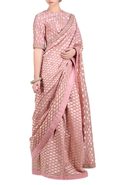 Lavender pink chanderi brocade saree with blouse
