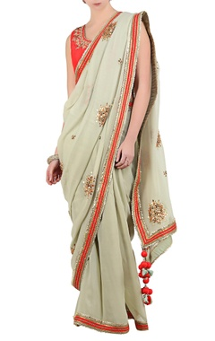Jade green gota patti saree with coral dupion silk blouse