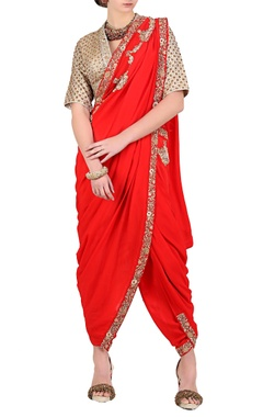 Nikasha Red embroidered dhoti sari with gold blouse