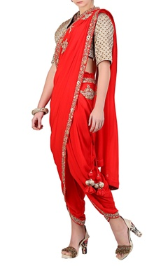 Red embroidered dhoti saree with gold blouse