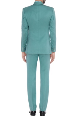 Teal blue jacket with printed shirt & trousers