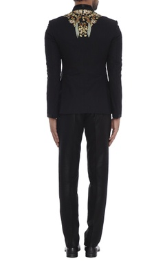 Black silk bird enbroidered sherwani with slim fit trousers