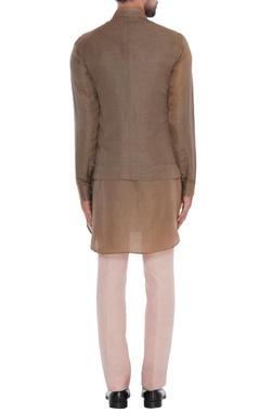 Brown satin cotton textured bundi with brown kurta, onion pink trousers