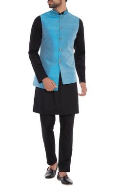 Light blue dupion silk nehru jacket