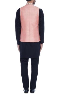 Peach raw silk wrap style nehru jacket