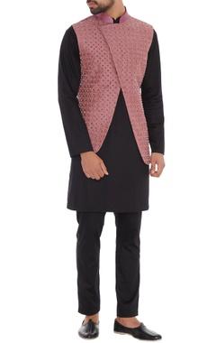 Dusty pink dupion silk overlap nehru jacket