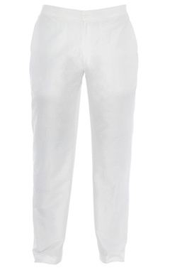 Off-white raw silk pants